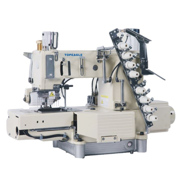 TMN-4412P-UTC-D 12 Needle, Cylinder Bed, Double Chain Stitch Machine For Attaching Pre-closed Elastic With Pneumatic Thread Trimmer.Direct-drive,